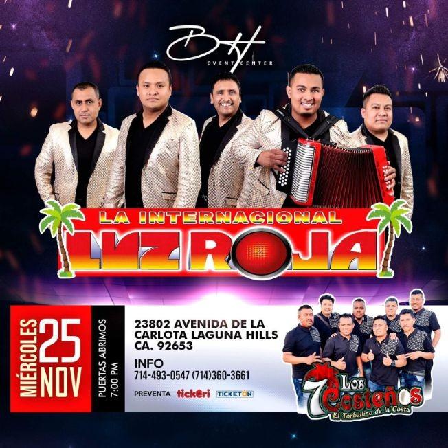 Flyer for La Internacional Luz Roja y Los 7 Costeños en Vivo! POSTPONED