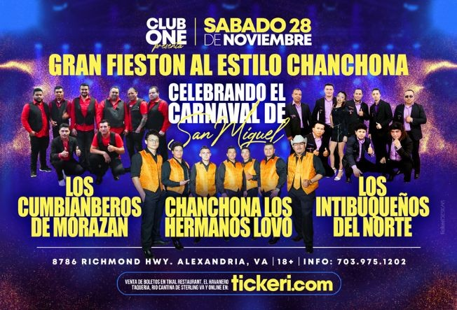 Flyer for Los Cumbiamberos de Morazan, Chanchona Hermanos Lovo y Los Intibuqueños del Norte en Vivo! POSTPONED