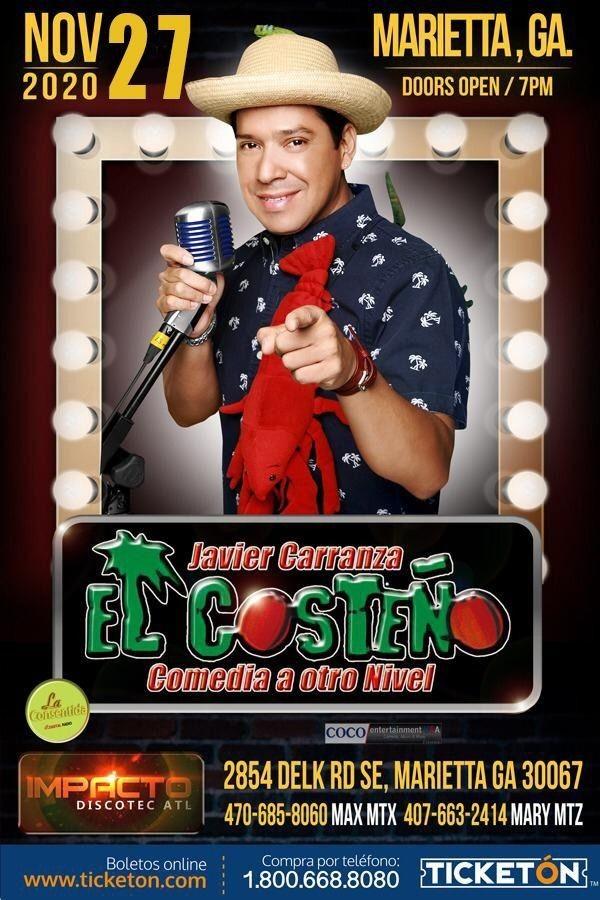 Flyer for Javier Carranza El Costeño con su Comedia a Otro Nivel
