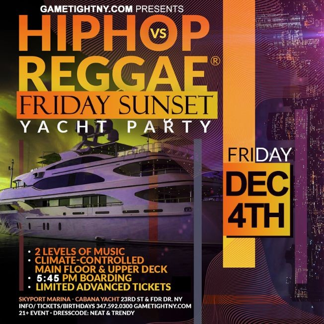 Flyer for NY Hip Hop vs Reggae® Sunset Cruise Skyport Marina Cabana Yacht
