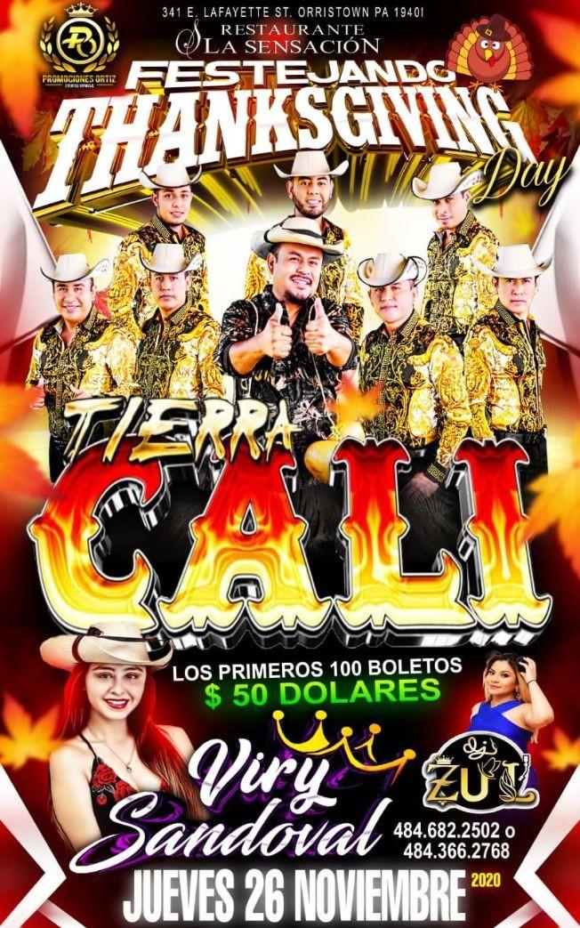 Flyer for TIERRA CALI VIRY SANDOVAL EN LA SENSACION
