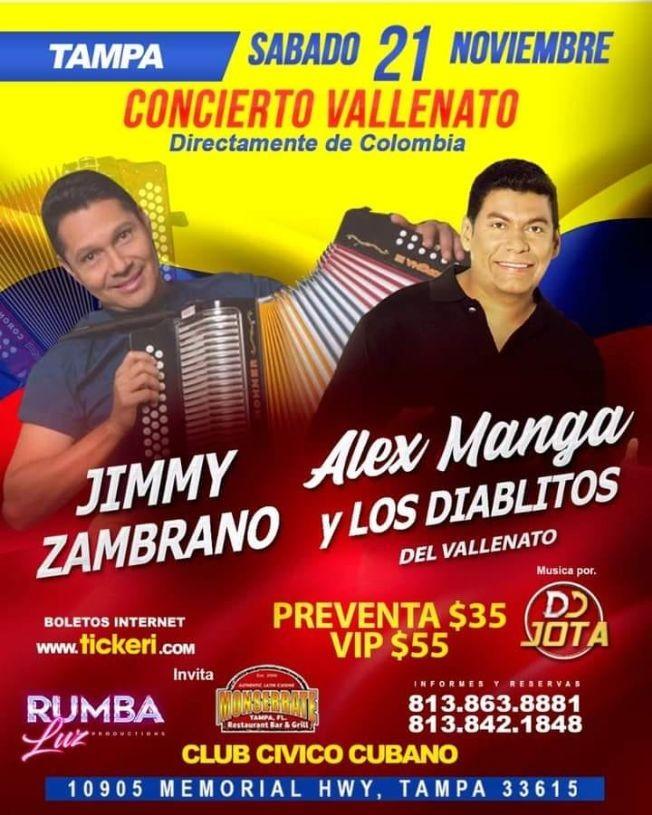 Flyer for Alex Manga y Los Diablitos del Vallenato en Tampa