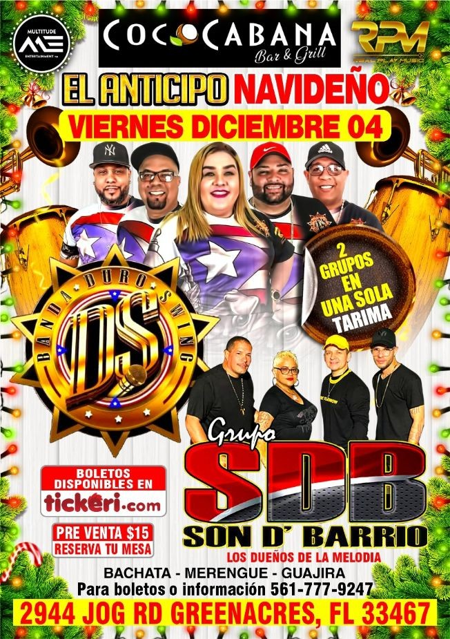 Flyer for Baile De Anticipo Navideno con Banda DS y Son D Barrio