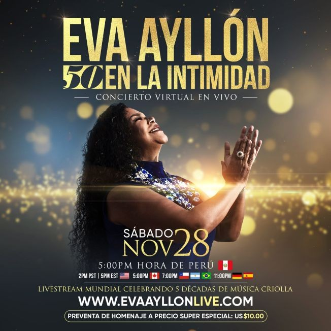 "Flyer for Eva Ayllón ""50 EN LA INTIMIDAD"" Concierto Virtual en Vivo"