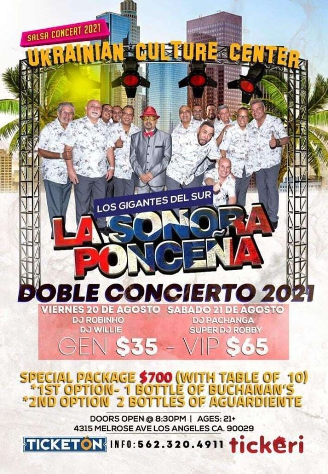 Flyer for La Sonora Ponceña en Vivo! Doble Concierto 2021