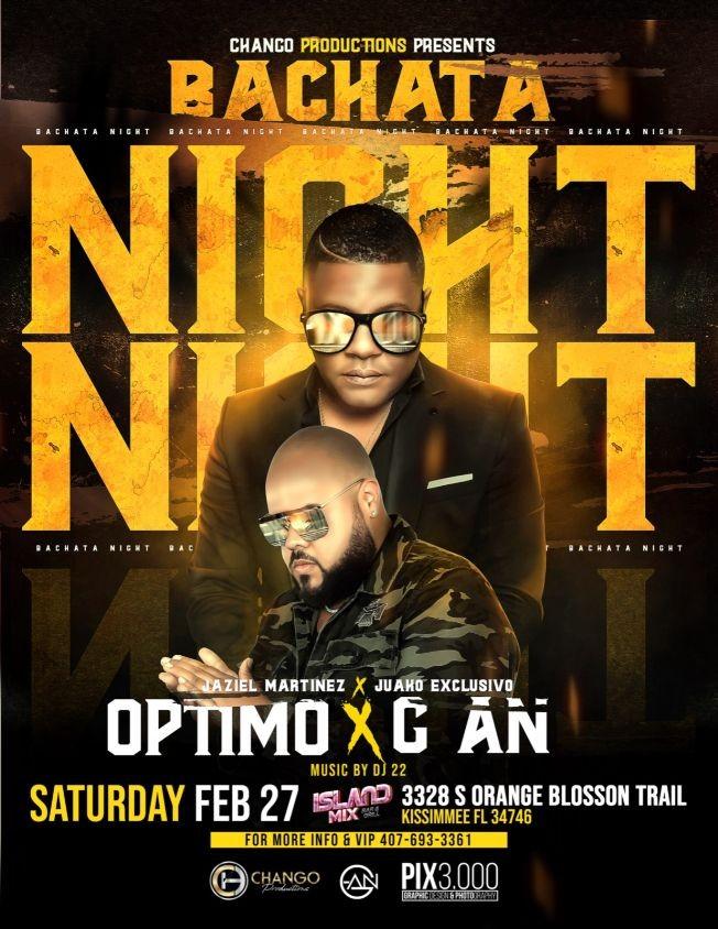 Flyer for Bachata Night (Optimo X G-An) El Concierto