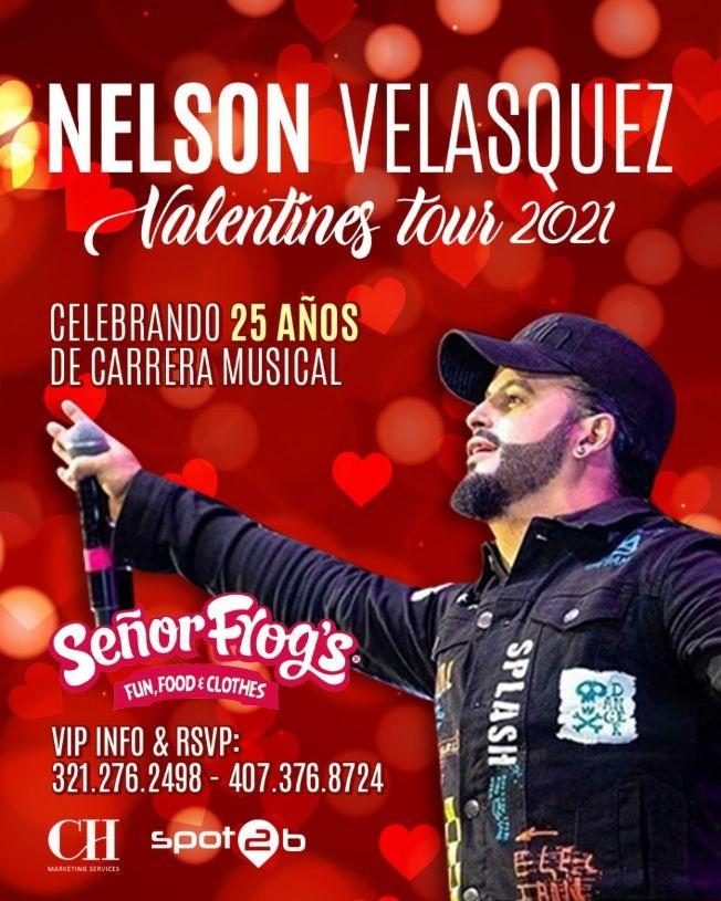 """Flyer for Nelson velasquez en Orlando """"valentines tour"""""""