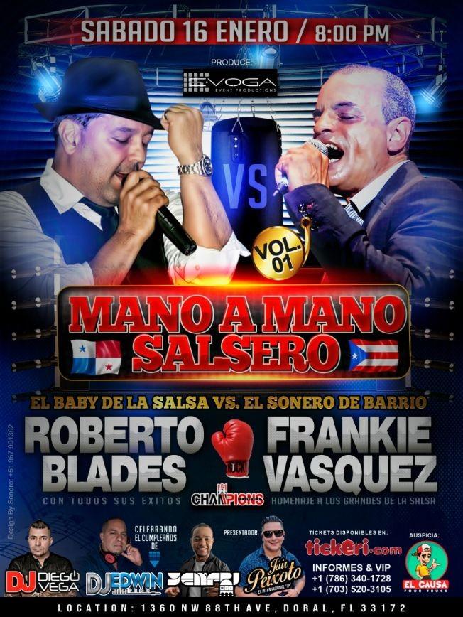 Flyer for ROBERTO BLADES & FRANKIE VASQUEZ MANO A MANO VOL1