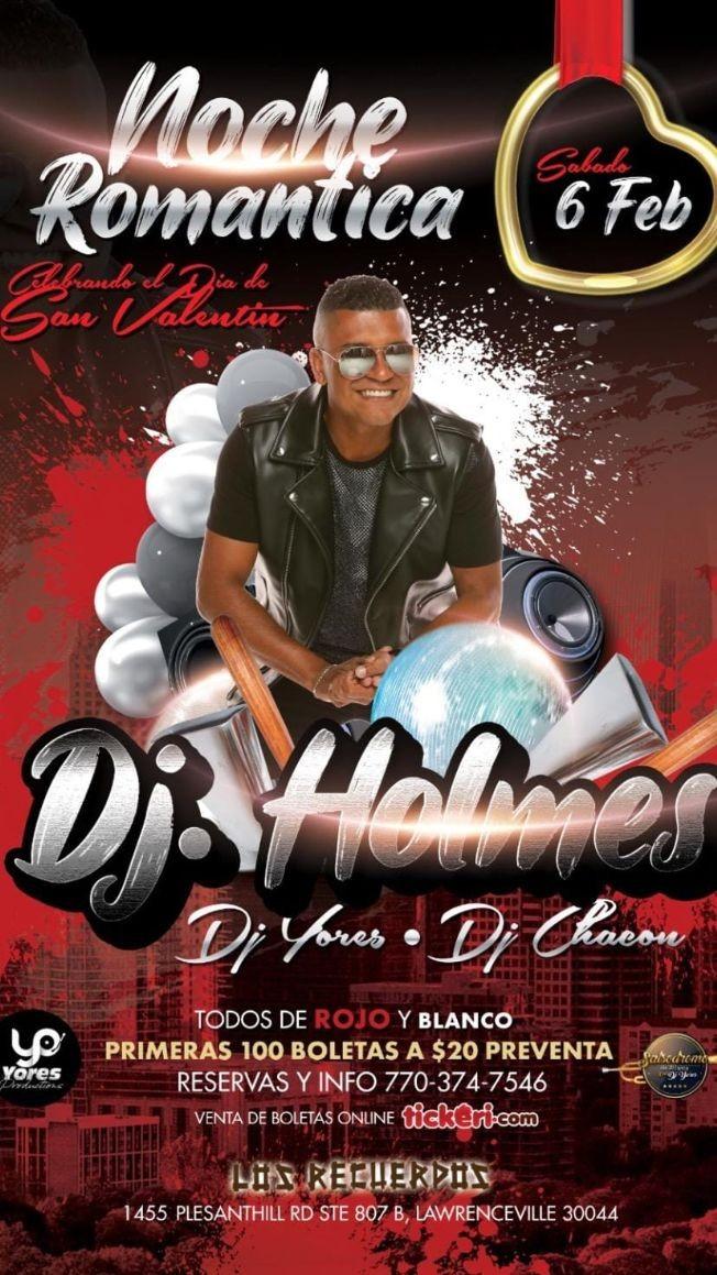 Flyer for Noche Romantica con Dj Holmes - Todos de Rojo & Blanco