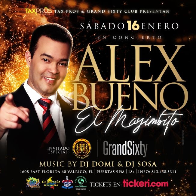 Flyer for ALEX BUENO En Concierto - Invitado GRUPO RIKA RUMBA POSTPONED