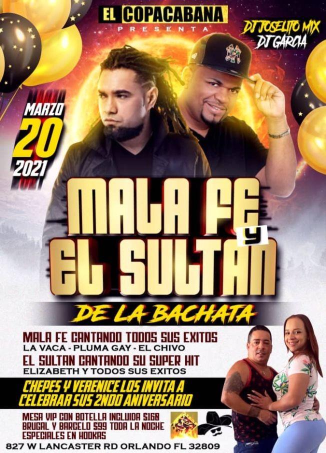 Flyer for MALAFE Y EL SULTAN D LA BACHATA