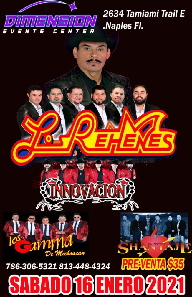 Flyer for Los Rehenes, Innovacion, Los Gamma y Shantaje en concierto