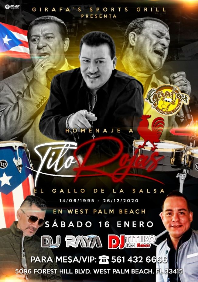 Flyer for Homenaje a Tito Rojas en West Palm Beach !!