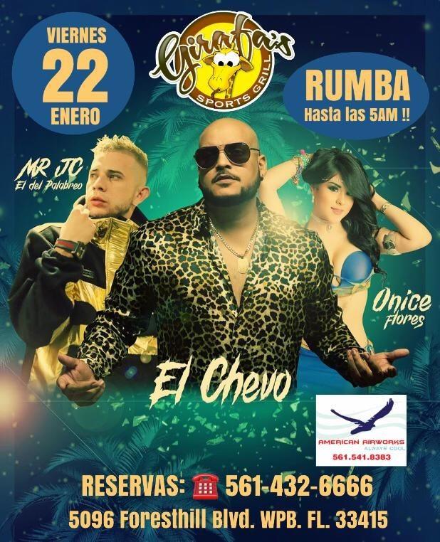 Flyer for El Chevo, Mr Jc y Onice Flores en West Palm Beach !!