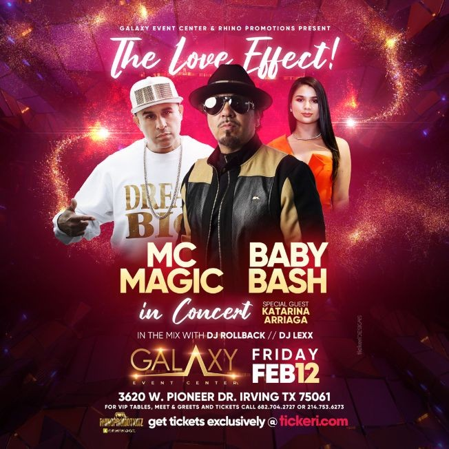 Flyer for The Love Affect with Baby Bash, MC Magic in Concert with special guess Katarina Arriaga!