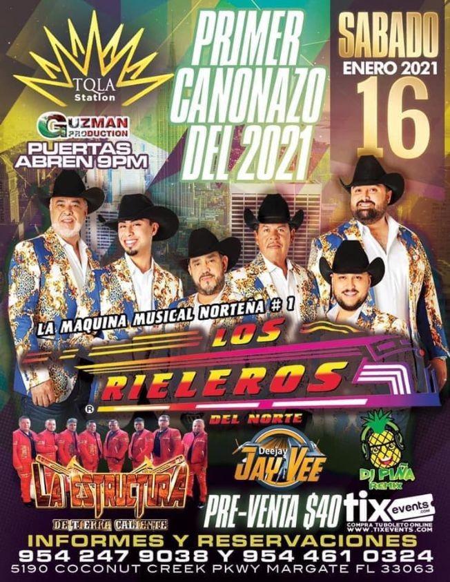 Flyer for Los Rieleros del Norte en concierto