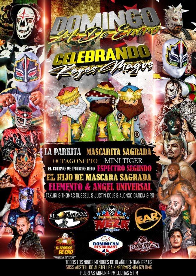 Flyer for Celebrando Reyes Magos: La Parkita, Mascarita Sagrada, Octangoncito, Mini Tiger y muchos mas!