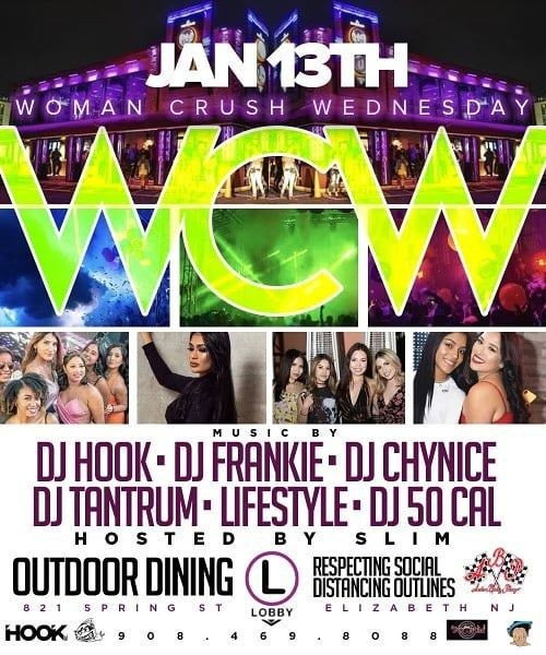 Flyer for Grand Opening Of Woman Crush Wednesdays At The Lobby