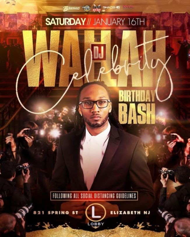 Flyer for MLK Weekend Kick Off DJ Wallah Celebrity Birthday Bash At The Lobby