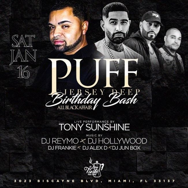 Flyer for Puff Jersey Deep Birthday Bash Tony Sunshine Live At El Otro Tiesto Cafe