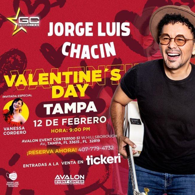 Flyer for Valentine's Day con Jorge Luis Chacin en Vivo!