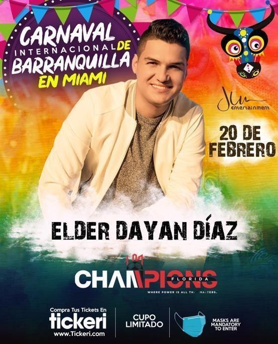 Flyer for Carnaval de Barranquilla en Miami con Elder Dayan Diaz en Concierto!