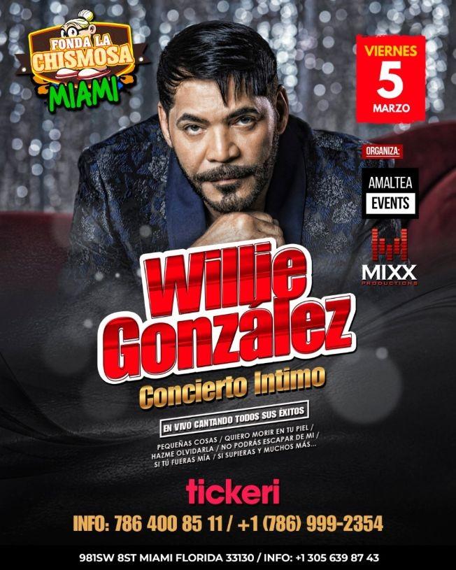Flyer for Willie Gonzalez concierto intimo en Miami