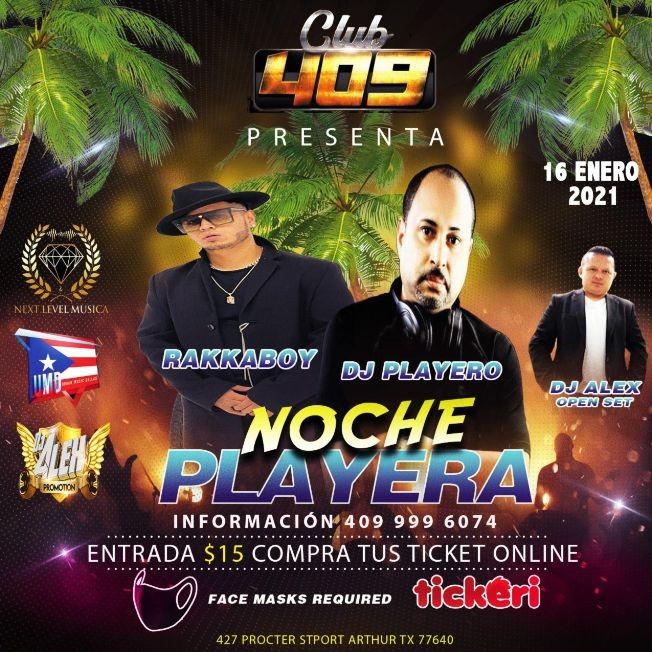 Flyer for Noche Playera con Rakkaboy, Dj Playero y Dj Alex