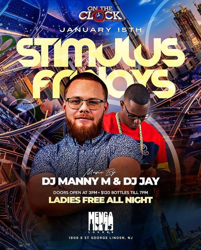 Flyer for Grand Opening Of Stimulus Fridays MLK Weekend Kickoff At Menga Lounge