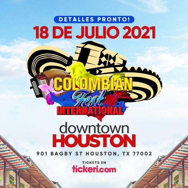 Flyer for NEW DATE: Colombian Fest International 2021 en Houston,TX