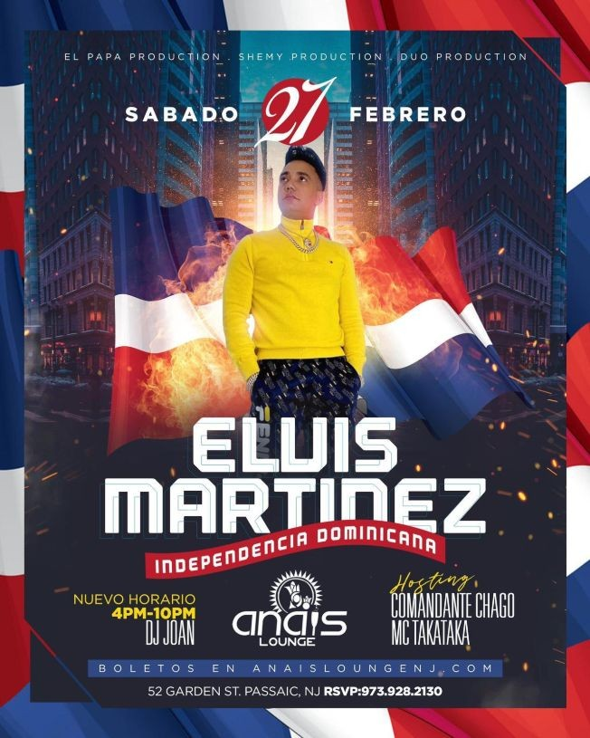 Flyer for Celebrando la Independencia Dominicana: Elvis Martinez en Concierto!