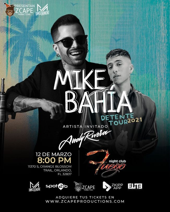 "Flyer for MIKE BAHIA "" TOUR DETENTE"" ORLANDO CON ANDY RIVERA"