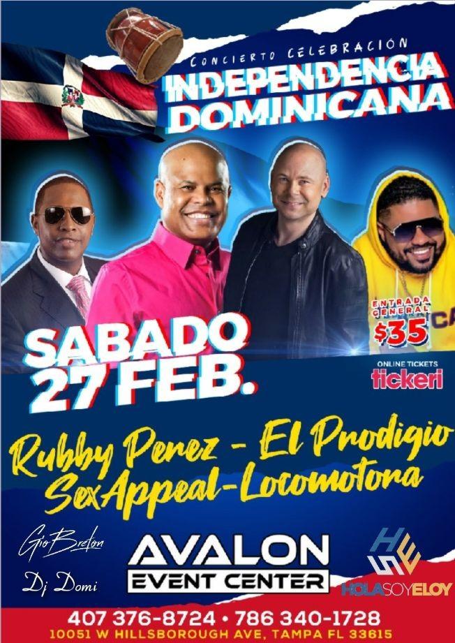 Flyer for Independencia Dominicana Tampa con Rubby Perez, El Prodigio y mas!