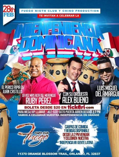Flyer for Independencia Dominicana con Rubby Perez, Alex Bueno, Luis Miguel del Amargue y mas!