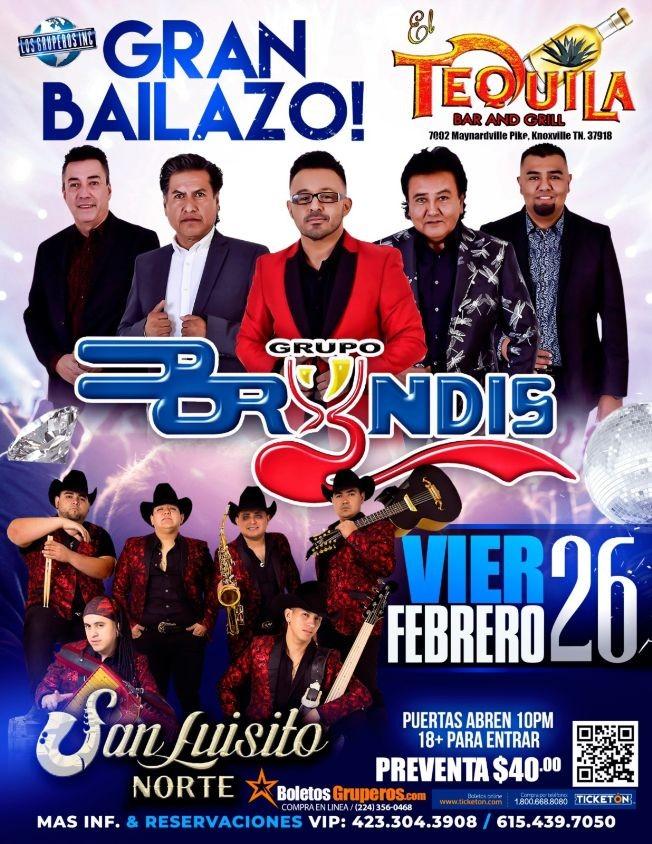 Flyer for Grupo Bryndis y San Luisito Norte en Vivo en Tenesee!