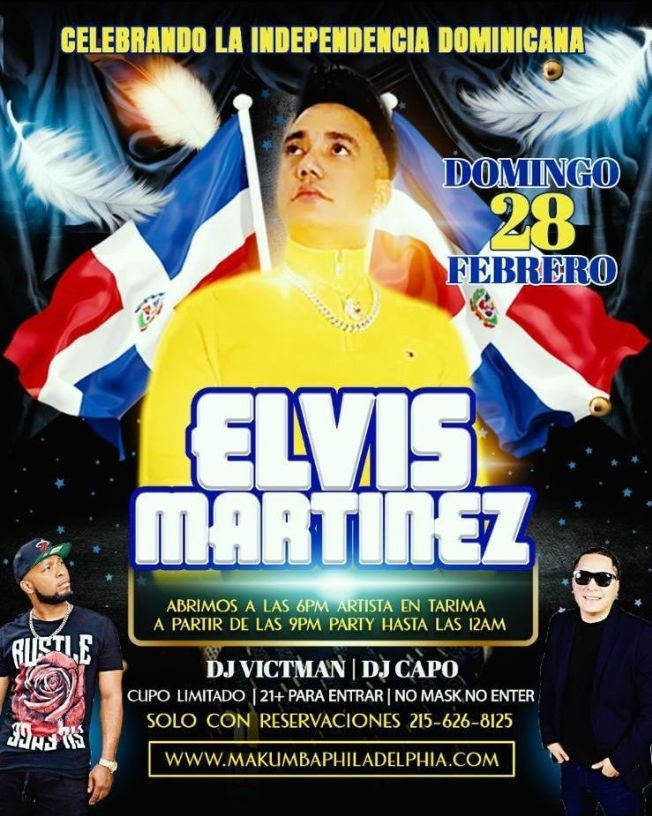 Flyer for Celebrando la Independencia Dominicana: Elvis Martinez en Concierto!