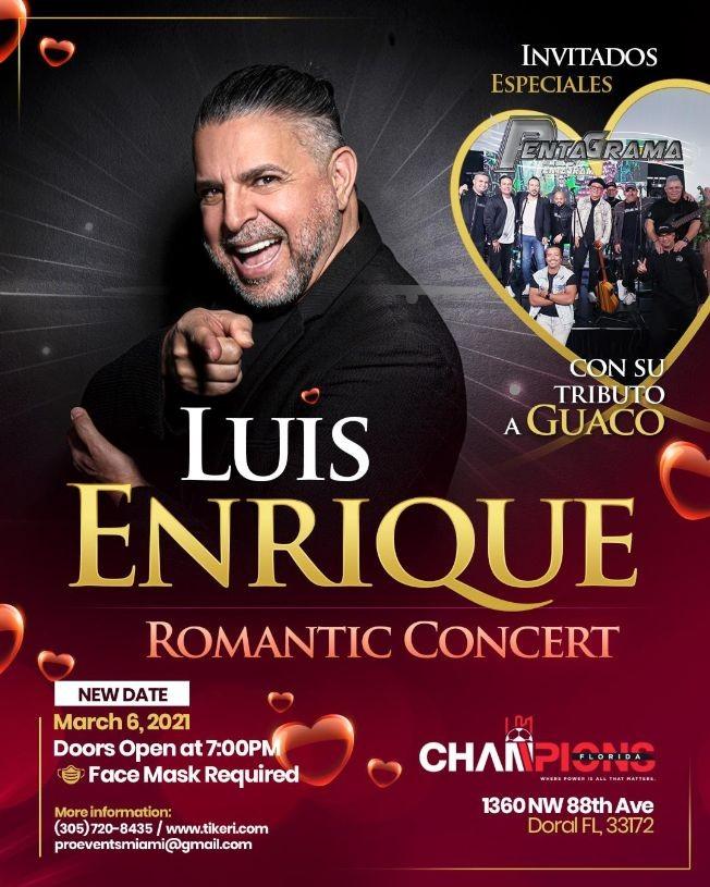 Flyer for Luis Enrique Concierto Romantico en Doral FL