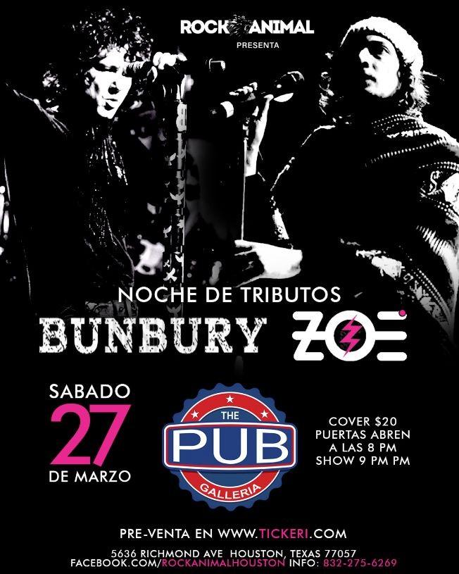 Flyer for Tributo a Bunbury y Zoe - Houston, Texas