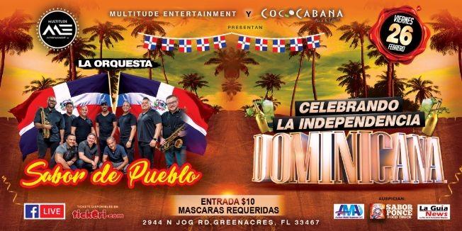 Flyer for Sabor de Pueblo en concierto! Celebrando la independencia Dominicana! En Cococabana Bar en Grill.