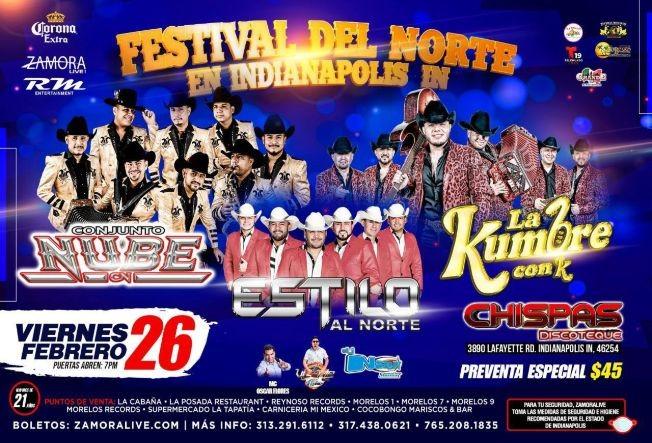 Flyer for Conjunto Nube, Estilo Al Norte y La Kumbre con K en Vivo!