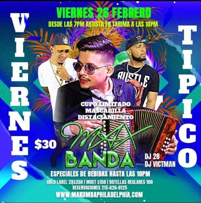 Flyer for Viernes Tipico con Max Banda en Vivo!