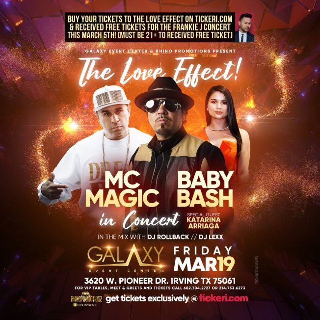 Flyer for The Love Effect with Baby Bash, MC Magic in Concert with special guest Katarina Arriaga! NEW DATE DUE TO WEATHER