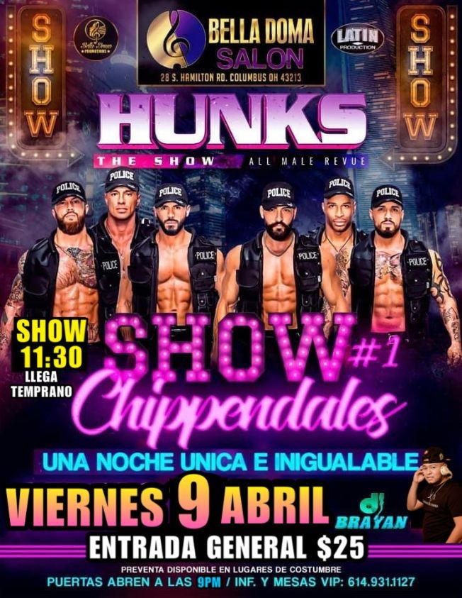 Flyer for Hunks the show at Columbus, OH