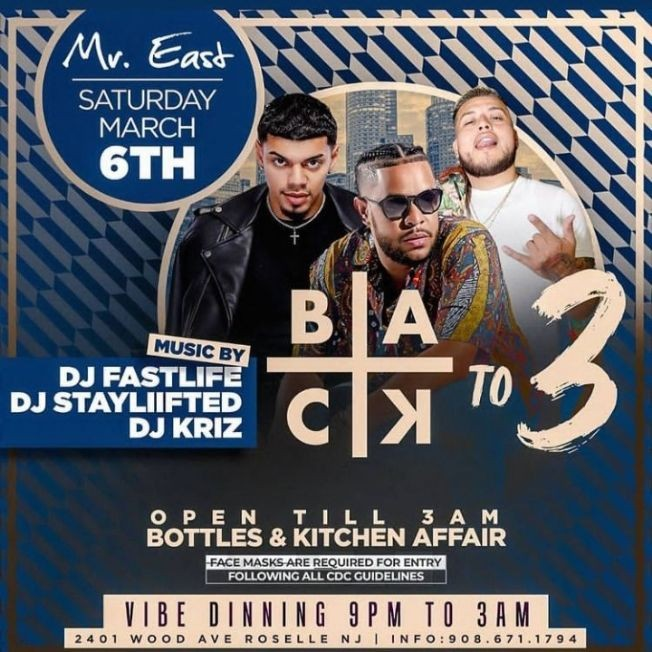 Flyer for Back To 3 Saturdays At Mister East