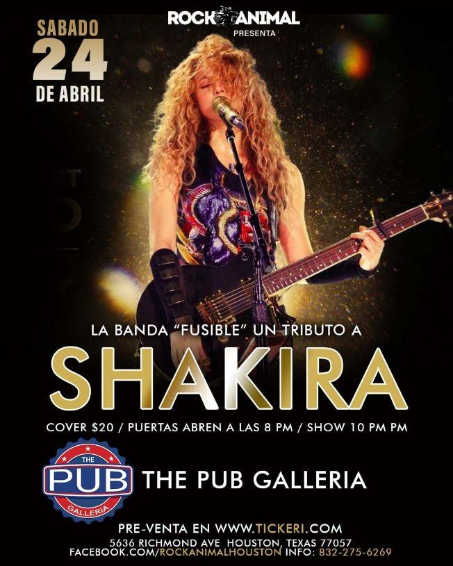 Flyer for Tributo a Shakira - Houston, Texas