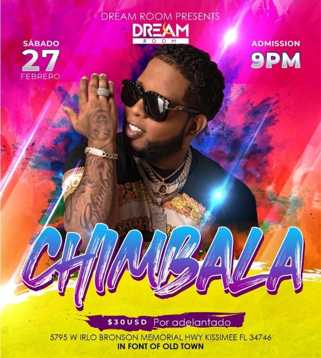 Flyer for Chimbala llega a Dream Room