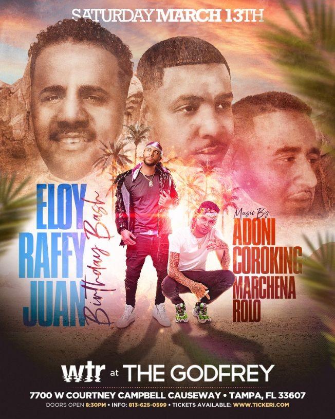 Flyer for DJ Adoni & Coroking live at WTR (Eloy, Raffy y Juan Bday Bash)
