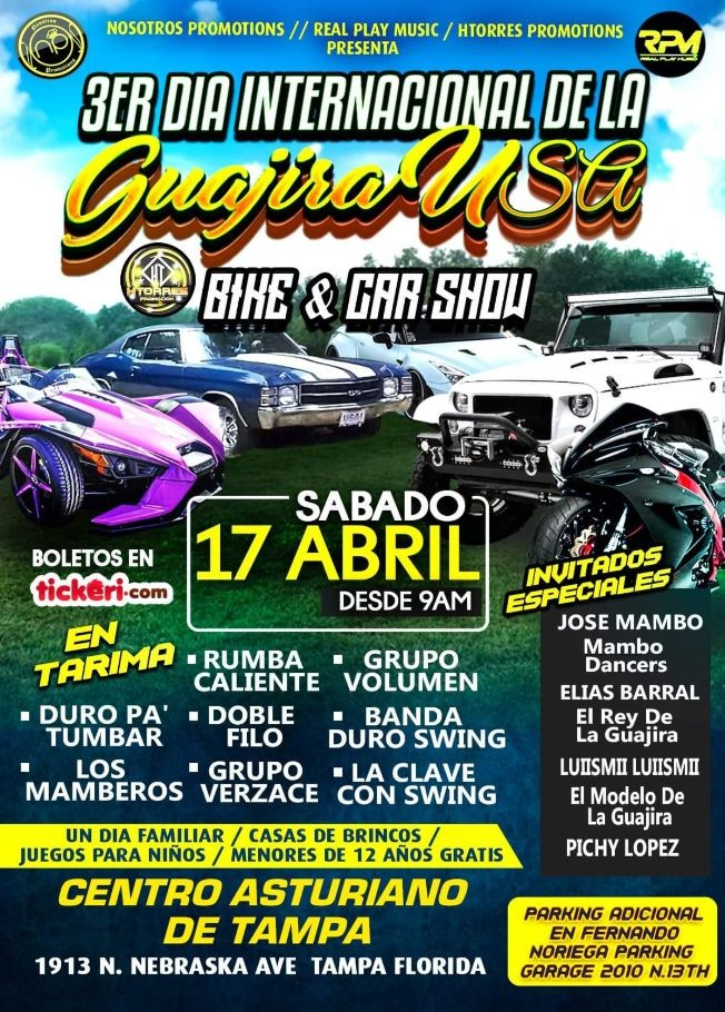 Flyer for 3ER DIA INTERNATIONAL DE LA GUAJIRA USA CAR & BIKE SHOW con RUMBA CALIENTE y mas!
