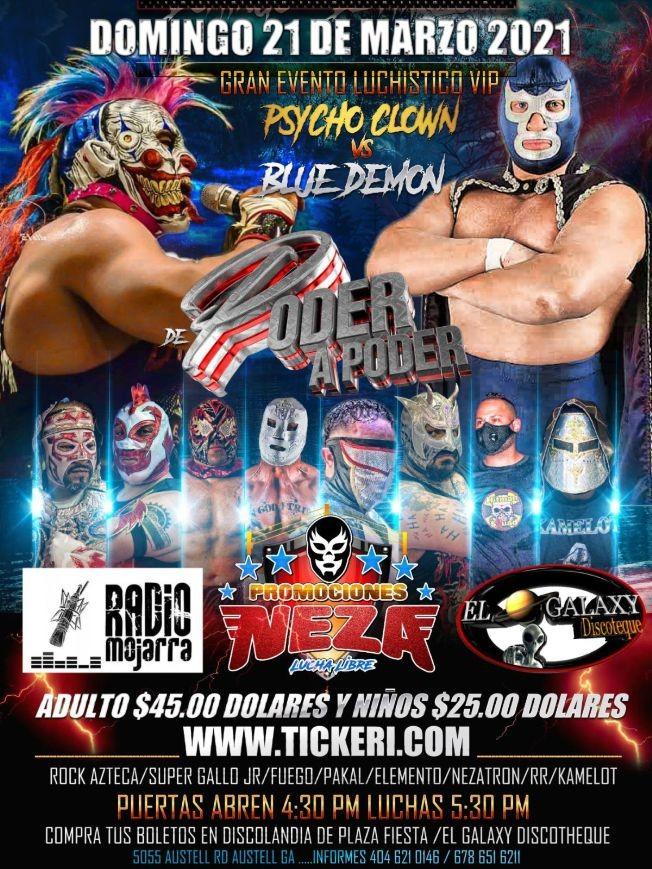 Flyer for Lucha Libre de Poder a Poder con Pycho Clown vs Blue Demon y Mas!