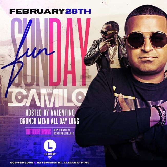 Flyer for Sunday Funday Brunch DJ Camilo Live At The Lobby